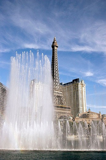 Fountain show with Paris Hotel and Casino in the background, Las Vegas, Nevada, USA : Stock Photo