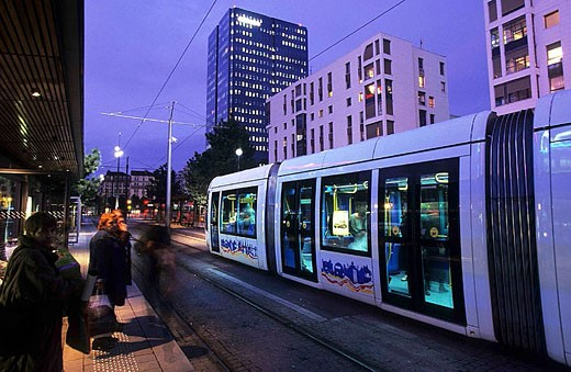 Stock Photo: 1566-317395 Two new tramway lines in the city of Lyon, France.
