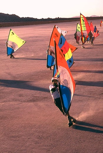 Leading windskate regatta across Mojave desert, dry lake bed. California. USA. : Stock Photo