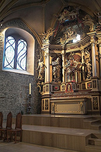 The beautiful baroque church. Megève winter resort. Haute-Savoie (74). France : Stock Photo
