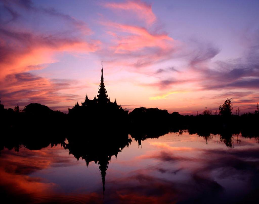 Royal Barge. Palace Moat, Mandalay. Myanmar. : Stock Photo