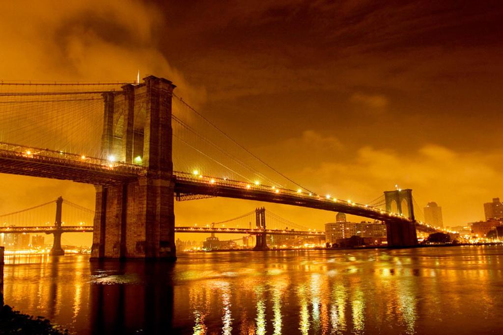 Brooklyn Bridge and Manhattan bridge at night,  NY, USA : Stock Photo