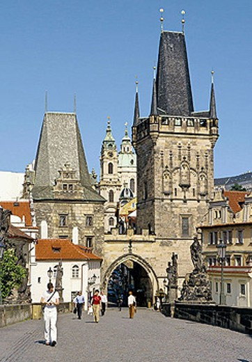 Lesser Town Bridge Tower on Charles Bridge in Prague, Czech Republic : Stock Photo