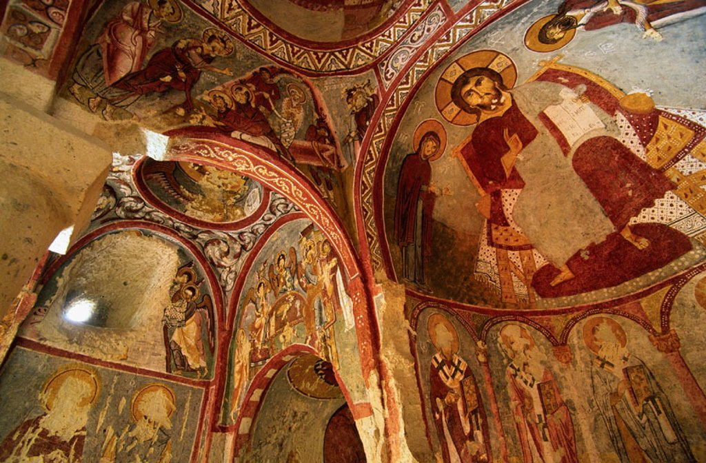Stock Photo: 1566-320351 Frescoes in the Çarikli kilise (Church of Sandals) at Goreme Open Air Museum. Cappadocia, Turkey