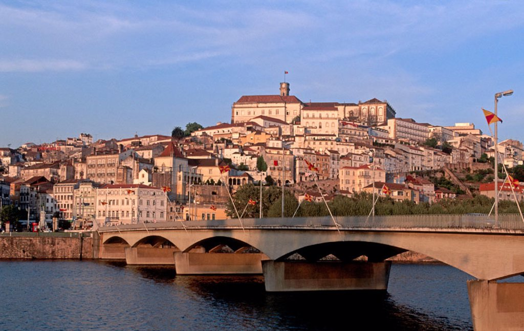 Santa Clara bridge over Mondego River and old town, Coimbra. Beira Litoral, Portugal : Stock Photo