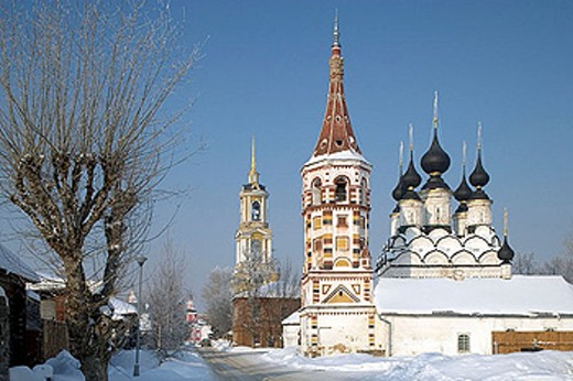 The summer Church of St Lazarus, 1667, the winter Church of St Antipas, 1745. Suzdal. Golden Ring, Russia : Stock Photo