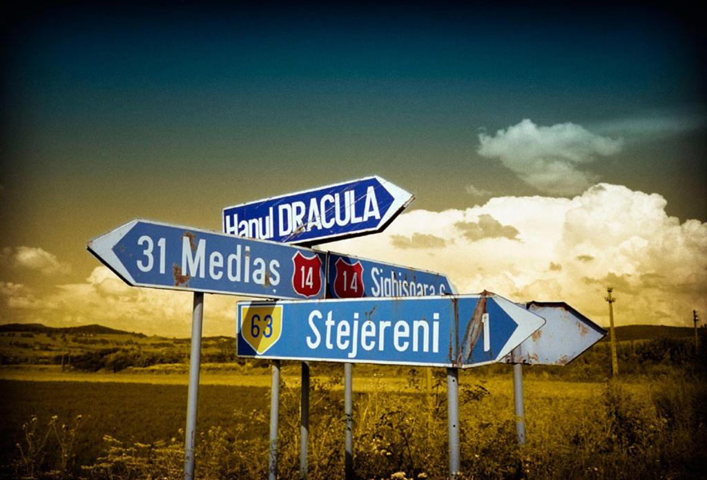 National road 14 Medias-Sighisoara, Transilvania, Rumania : Stock Photo