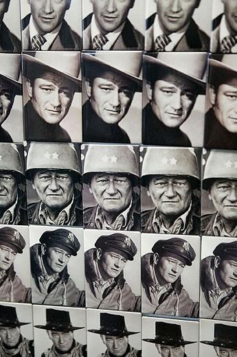 Stock Photo: 1566-322853 Birthplace of John Wayne. Actor and Cowboy Icon. Fridge Magnets. Winterset. Madison County. Iowa. USA.