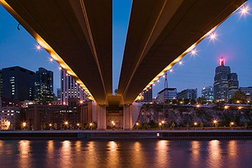 Stock Photo: 1566-323746 Evening City View along the Mississippi River from under the Wabasha Street Bridge. St. Paul. Minnesota. USA.
