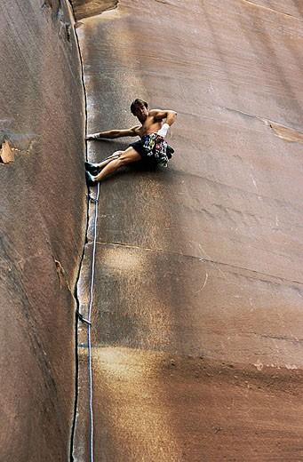 Stock Photo: 1566-323872 Amaretto Corner (L1 5.9). Indian Creek. Canyonlands National Park. Utah. USA