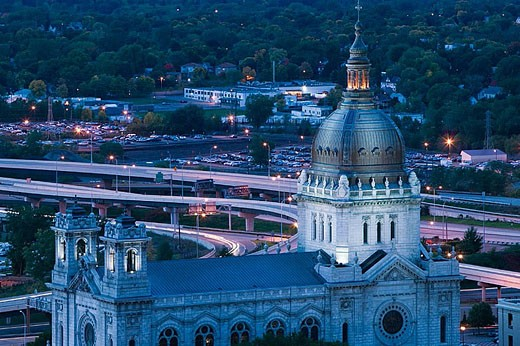 Evening View of the Basilica of St. Mary (b.1913). Minneapolis. Minnesota. USA. : Stock Photo