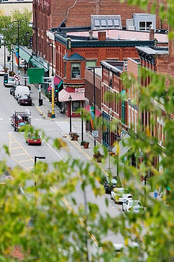 Stock Photo: 1566-324113 Main Street View of St. Croix River Valley Tourist Town. Stillwater. St. Croix River Valley. Minnesota. USA.
