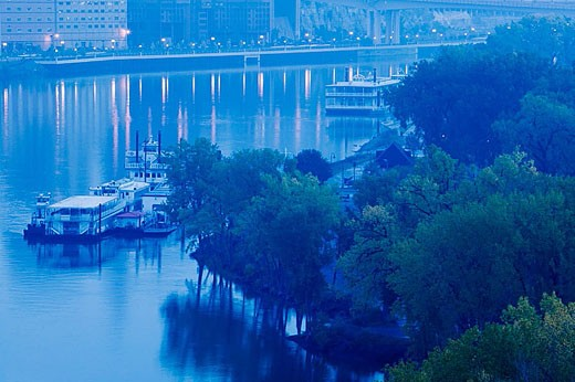 Stock Photo: 1566-324141 Dawn View of Mississippi Riverboats from Smith Avenue Bridge. Saint Paul. Minnesota. USA.