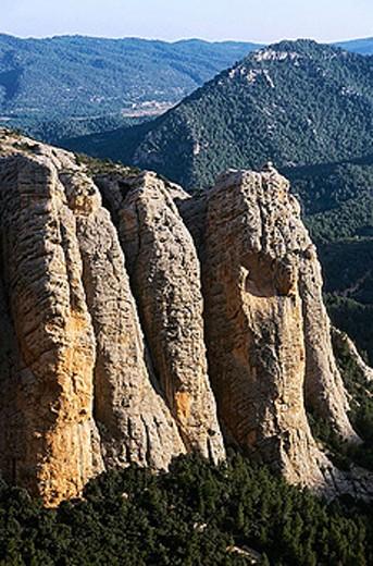 Peñas de Masmut. Peñarroya de Tastavins. Teruel province. Aragon. Spain. : Stock Photo