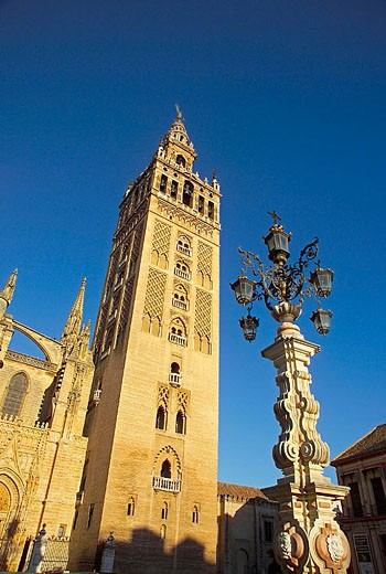 Spain Seville Province Seville (Sevilla) Cathedrals Giralda Tower : Stock Photo
