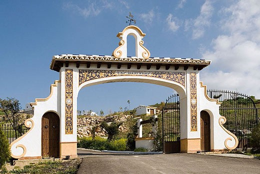 Entrance Gate to new housing development, Algámitas, Sevilla Province, Andalucia, Spain : Stock Photo