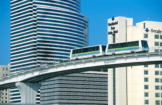 Stock Photo: 1566-325473 Government Tower and Metromover Monorail. City of Miami. Florida. USA.