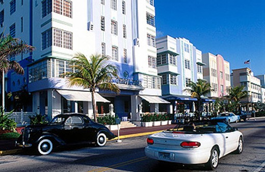 Stock Photo: 1566-325483 The Art Deco District around Ocean Drive and Washington Ave. Miami Beach. Florida. USA.