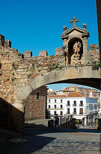 Arco de la Estrella (XVth century). Ciudad Monumental. Caceres. Extremadura. Spain : Stock Photo