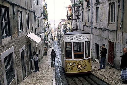Stock Photo: 1566-326106 Funicular going from Barrio Alto to Rossio and Baixa quarters, Lisbon. Portugal