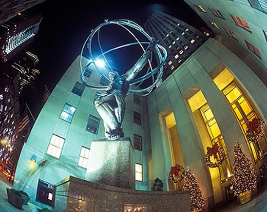 Christmas, Atlas, Rockefeller Center, Manhattan, New York, USA : Stock Photo