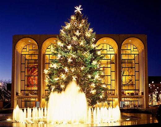 Christmas tree, Lincoln Center, Manhattan, New York, USA : Stock Photo