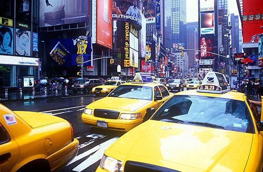 Taxi cabs, Times square, Midtown, Manhattan, New York, USA : Stock Photo