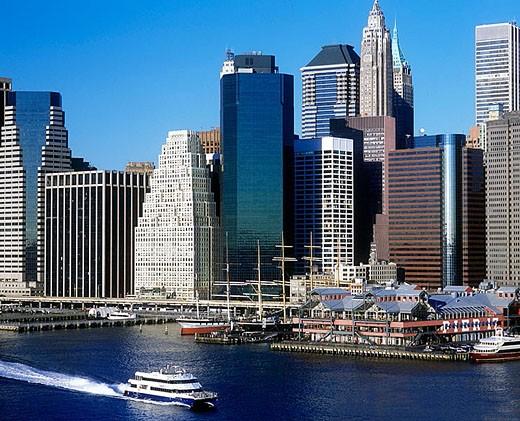 Financial district, Downtown skyline, Manhattan, New York, USA : Stock Photo