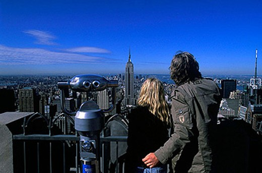 Stock Photo: 1566-327981 Couple, Observation deck, Midtown skyline, Manhattan, New York, USA
