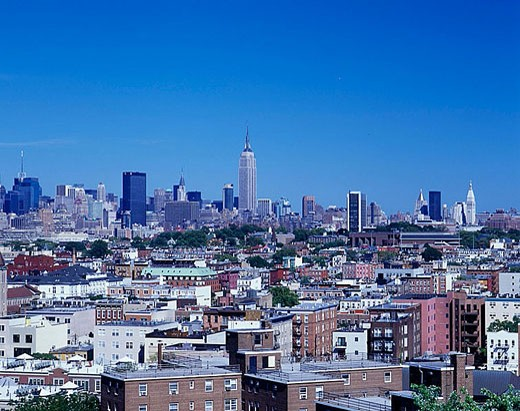 Overlook rooftops, Hoboken, New jersey, To manhattan, New York, USA : Stock Photo