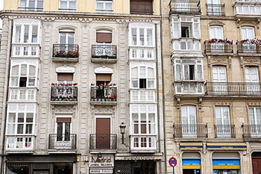 Stock Photo: 1566-329815 Façades and balconies of Vitoria-Gasteiz. Alava. Euskadi. Spain