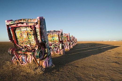 Cadillac Ranch. Buried 1950´s Cadillac Cars. Panhandle Area-Amarillo.Texas, USA. : Stock Photo