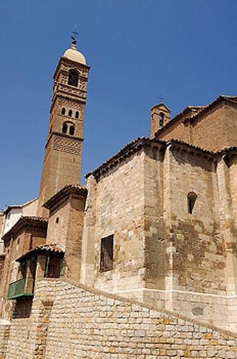 Stock Photo: 1566-331077 Iglesia de Santa María Magdalena tower (XIIth century, mudejar tower, XVth century). Tarazona. Zaragoza. Aragón. Spain.