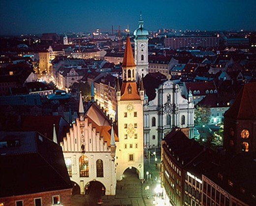 Stock Photo: 1566-331335 Germany, Bavaria, Munich, Old City Hall, Holy Ghost Church