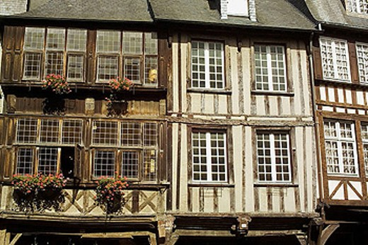 Stock Photo: 1566-331733 Half-timbered houses. Dinan. Britanny. France.