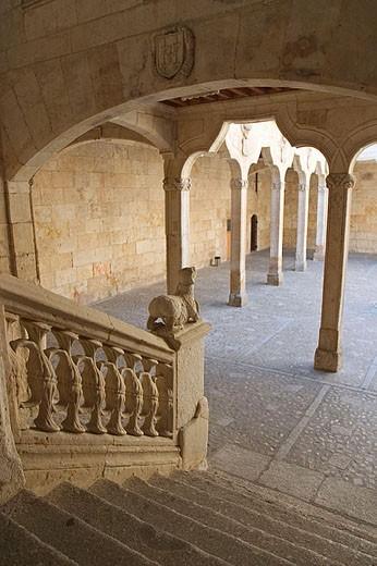 Cloister of Casa de las Conchas (15th century), Salamanca. Castilla-León, Spain : Stock Photo