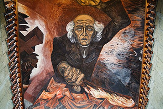 Stock Photo: 1566-332796 ´Hidalgo´ mural painting by José Clemente Orozco over the main staircase of the Government Palace, Jalisco. Guadalajara, Mexico