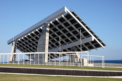 Stock Photo: 1566-332850 Photovoltaic pergola. Forum. Barcelona. Spain
