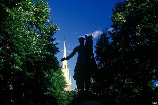 Stock Photo: 1566-333609 Revere mall & old north church, Boston, Massachusetts, USA.