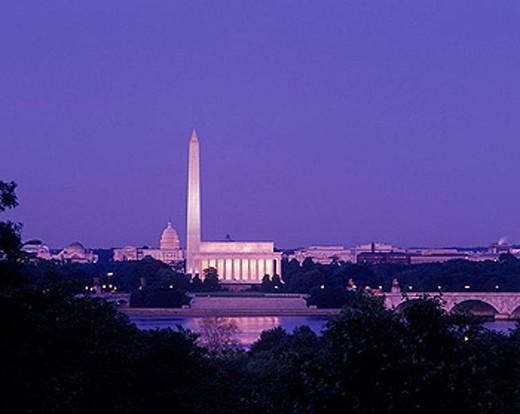 Monuments & capitol building, Washington D.C., USA. : Stock Photo