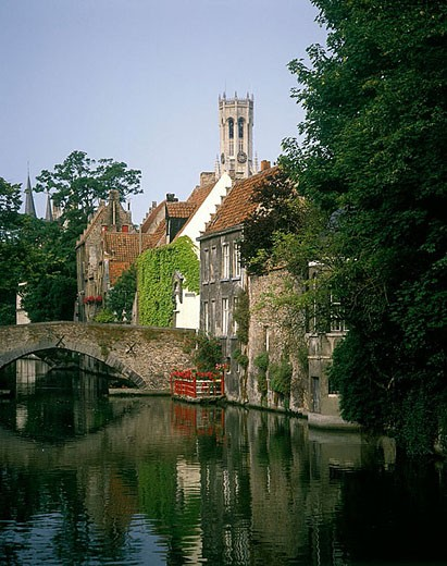 Groenerei canal, Brugge, Belgium. : Stock Photo