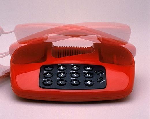 Red telephone. : Stock Photo