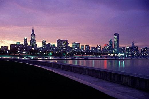Stock Photo: 1566-335093 Lakeshore skyline, Downtown, Chicago, Illinois, USA.
