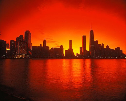 Stock Photo: 1566-335125 Lakeshore skyline, Downtown, Chicago, Illinois, USA.