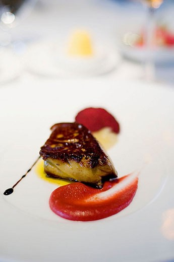 ´Caprice´ French restaurant at Four Seasons Hotel. ´Foie gras´. Hong Kong, China. : Stock Photo
