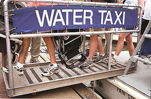 Stock Photo: 1566-335675 Water Taxi on the popular tourist site ´Heritage Walk´. Baltimore. USA