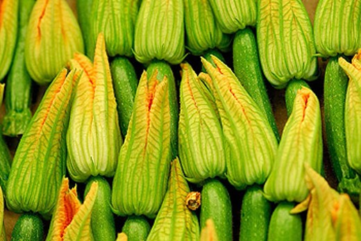 Courgette flowers. Mercado de la Boquería. Barcelona. Spain. : Stock Photo