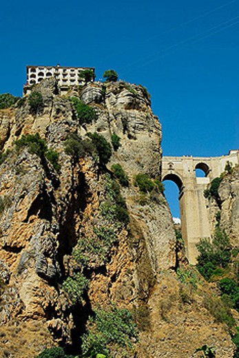 New Bridge, Ronda. Malaga province, Andalusia, Spain : Stock Photo