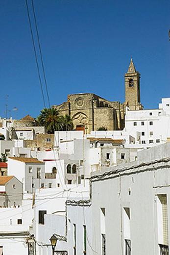 Church of the Divino Salvador (14th century), Vejer de la Frontera. Cádiz province, Andalusia, Spain : Stock Photo