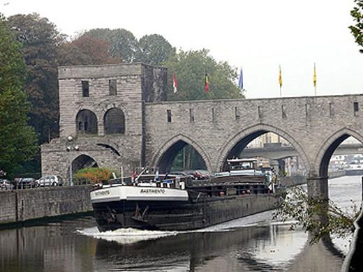 Stock Photo: 1566-337515 Pont des Trous bridge over Escaut river. Tournai. Hainaut, Belgium